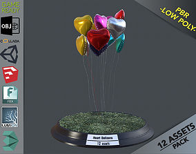Heart Balloons Pack1 3D model