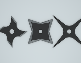 Low poly throwing star shurikens 3D asset