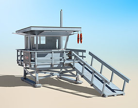 Lifeguard Station With Rescue Buoy 3D asset