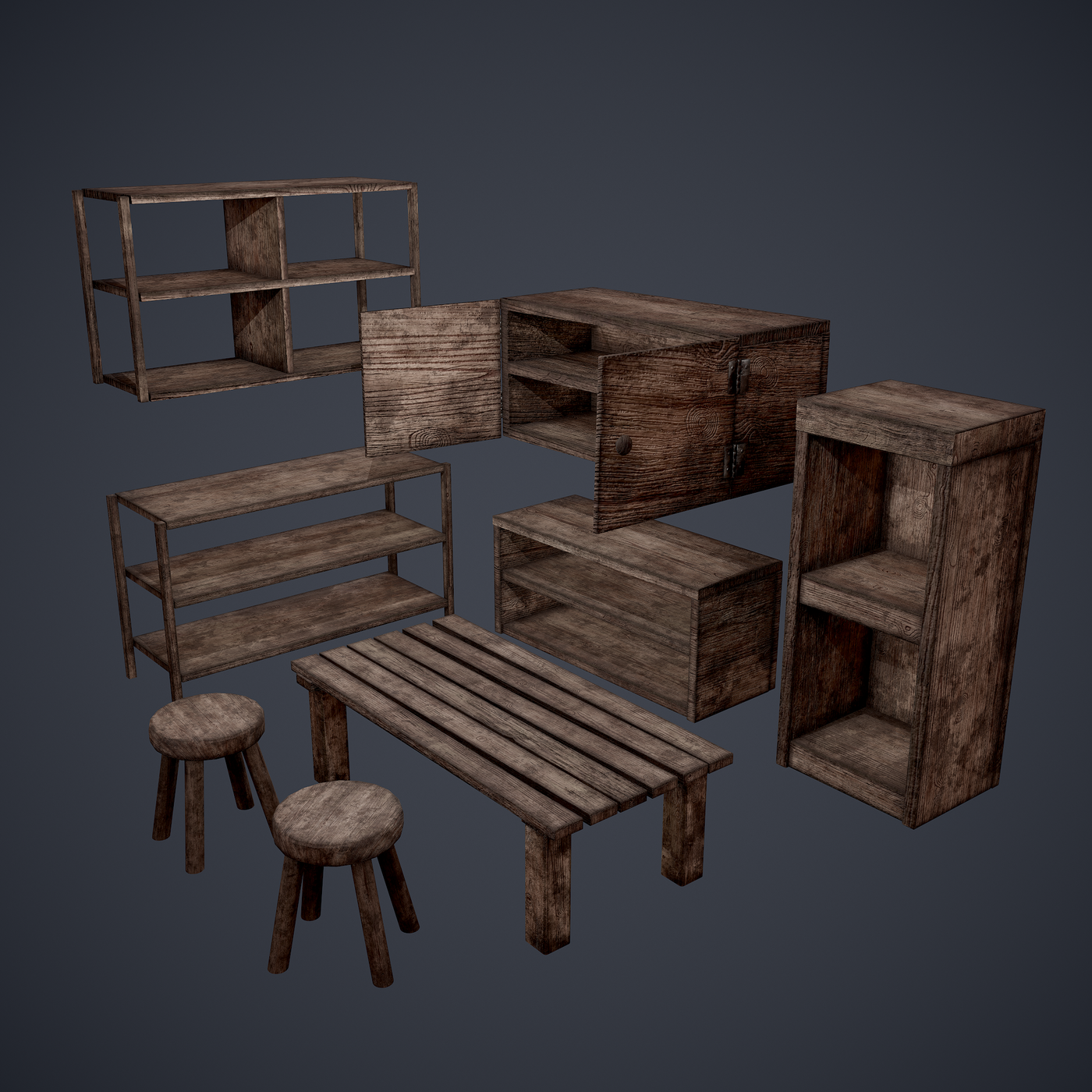 Medieval Tavern Furniture Set