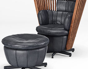Tavarua Armchair and Ottoman by Pacific Green 3D model