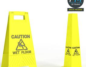 3D Wet floor warning signs