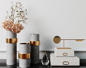 3D Decorative set with eucalyptus and brass gold vase
