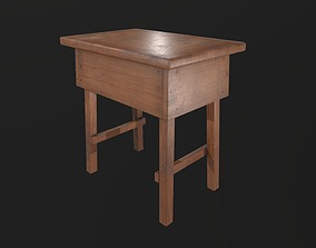 Side table 3D asset low-poly