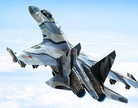 Su-27 Flanker 3D model animated