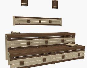 Sauna bench 02 3D model