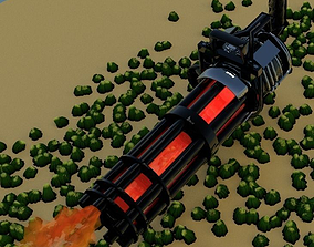 3D model military Gatling gun