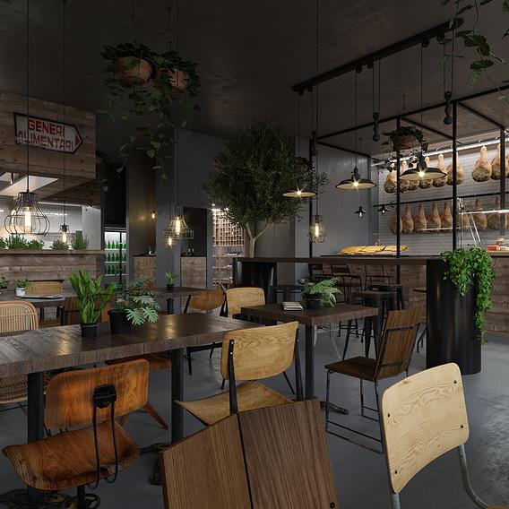 render for italian restaurant in Los Angeles