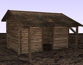 3D model realtime Wooden storehouse