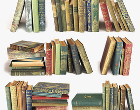 slant 3D old books on a shelf set 3