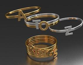 3D print model delicate 32 alphabet badge rings package