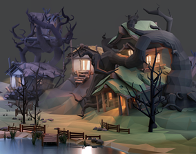 VR / AR ready Fantasy Houses Low Poly Asset