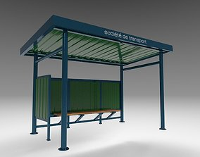 3D model rigged bus stop