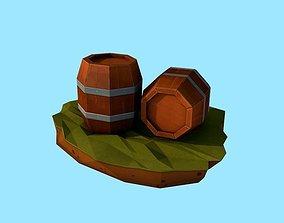 Cartoon Low Poly Wooden Barrels Handpainted 3D model