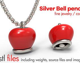 Argento pendente campanella - bell pendant - 3D print