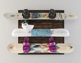 3D Snowboard storage set
