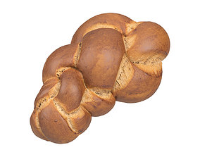 baked Photorealistic Swiss Zopf Bread 3D Scan