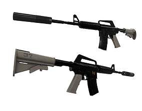 3D model AK 47 and M4A1 Carbine weapons pack