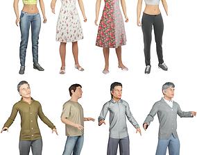 3D 8x Man and woman cloth simulation conversation loop 1