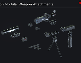 3D model Scifi Modular Weapon Attachments