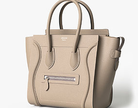 Celine Luggage Handbag Beige 3D