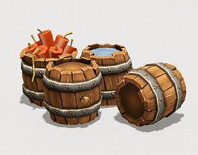 Low Poly Barrel Pack 3D asset