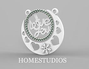 PENDANT LOVE silver 3D printable model