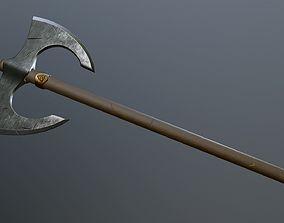 Medieval battle poleaxe 3D asset