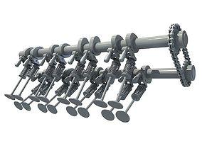 Camshaft and Engine Valves 3D
