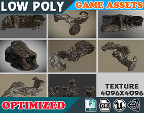 Low poly Realistic Wet-mossy Cave Rock Pack - 3D model 1