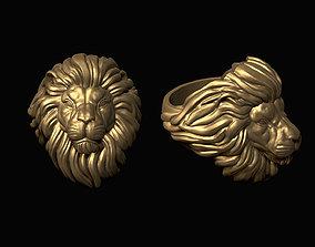 Lion Head Ring 3D printable model sterling