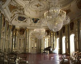 3D Baroque Hall With Piano And Chairs
