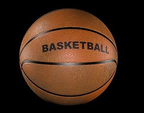 3d basket ball includes dirt texture and logo