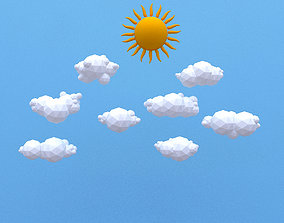 Low Poly Clouds Pack 3D asset