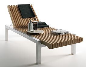 Wooden Lounger with Towels and Bottles 3D fabric
