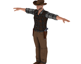 low-poly Cowboy Man 3D Print Model Character - Game