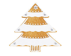 Christmas tree shaped gingerbread cookie 3D model