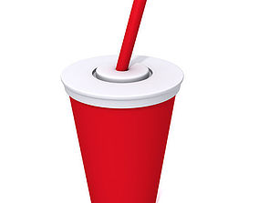 3D Paper cup with red straw