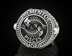 Zodiac skull ring Pisces 3D print model