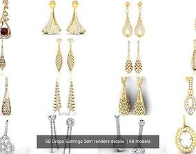 68 Drops Earrings 3dm renders details