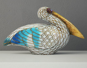 Cloisonne Pelican with Garnet Eyes 3D model