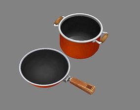 3D model Cartoon pots - pan -soup pot