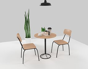 Cafe Interior Furniture Set 3D