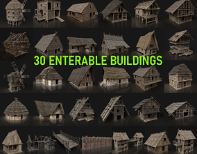 AAA MEDIEVAL SETTLEMENT VIKING HOUSES BUILDER PACK 3D