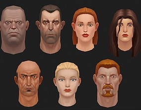 Low poly heads with textures v2 3D model