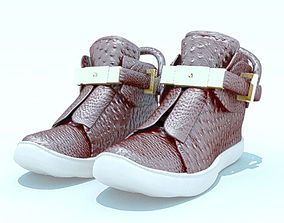 3D asset Womens Buscemi brown leather boots