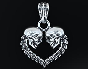 3D printable model Stylish heart pendant with skulls 503