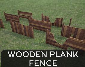 3D asset Lowpoly Modular Plank Fence