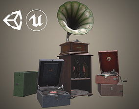 3D asset Old gramophones pack