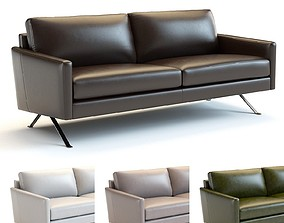 West Elm - Angled Arm Leather Sofa 3D